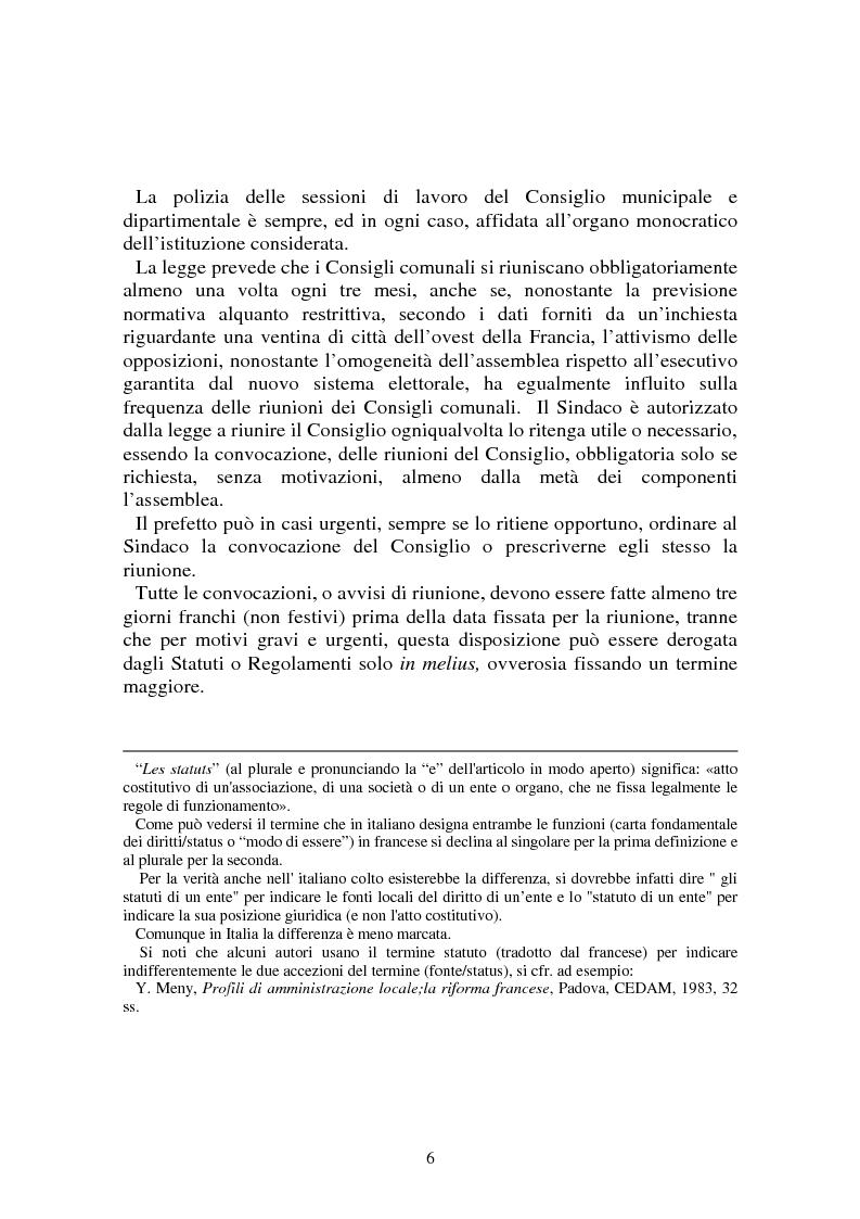 Anteprima della tesi: Procedimenti deliberativi negli enti locali; l'esperienza francese, Pagina 7