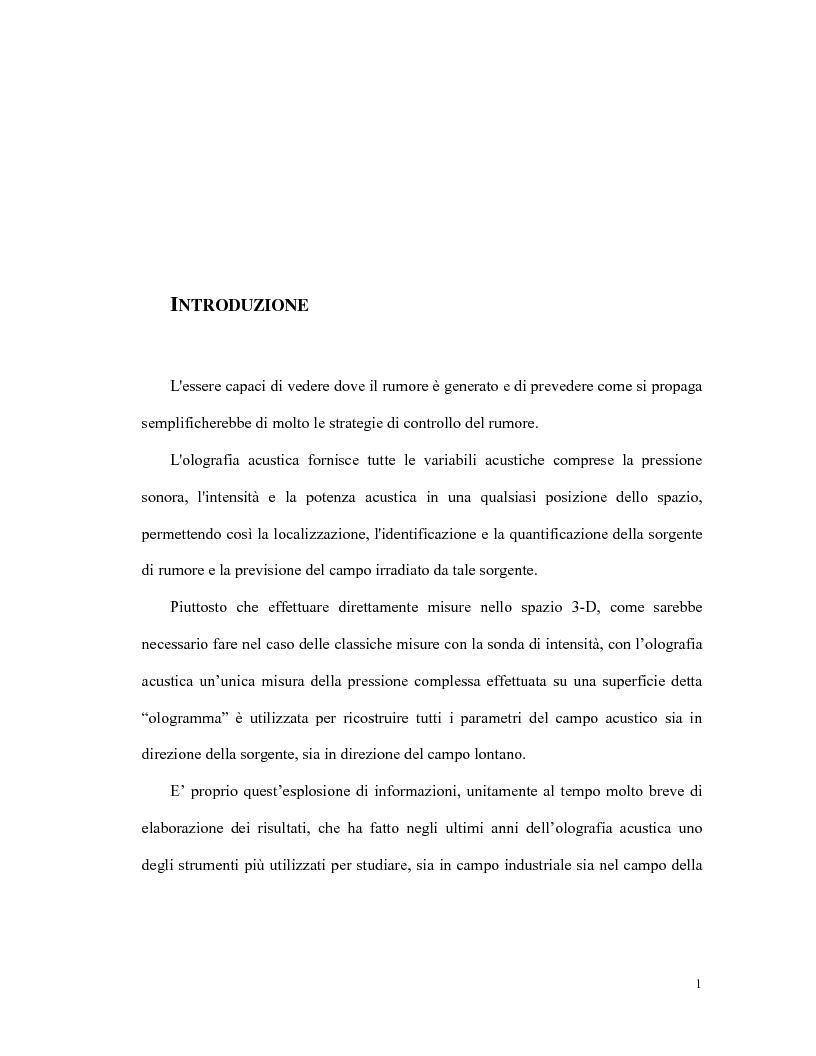 Anteprima della tesi: L'olografia acustica: uno strumento per l'analisi della trasmissione sonora, Pagina 1