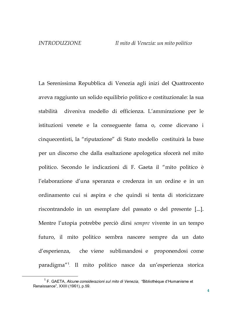 Anteprima della tesi: Tra politica e letteratura: il mito di Venezia, Pagina 1