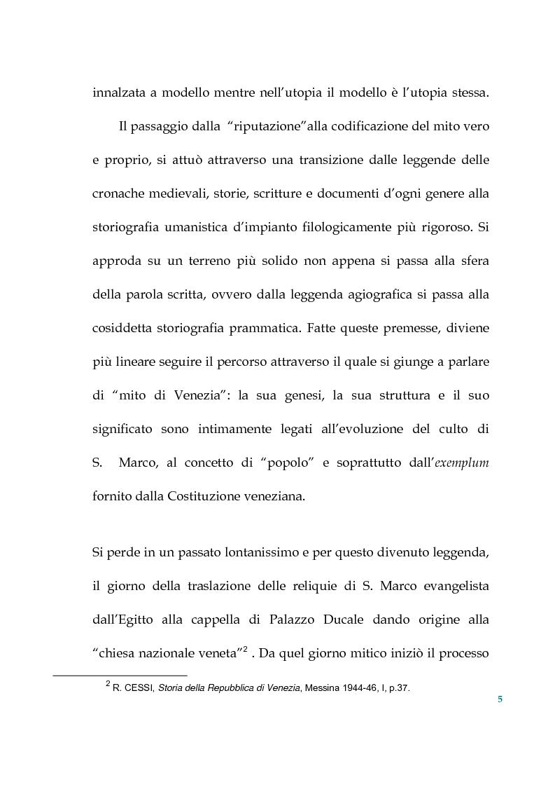 Anteprima della tesi: Tra politica e letteratura: il mito di Venezia, Pagina 2