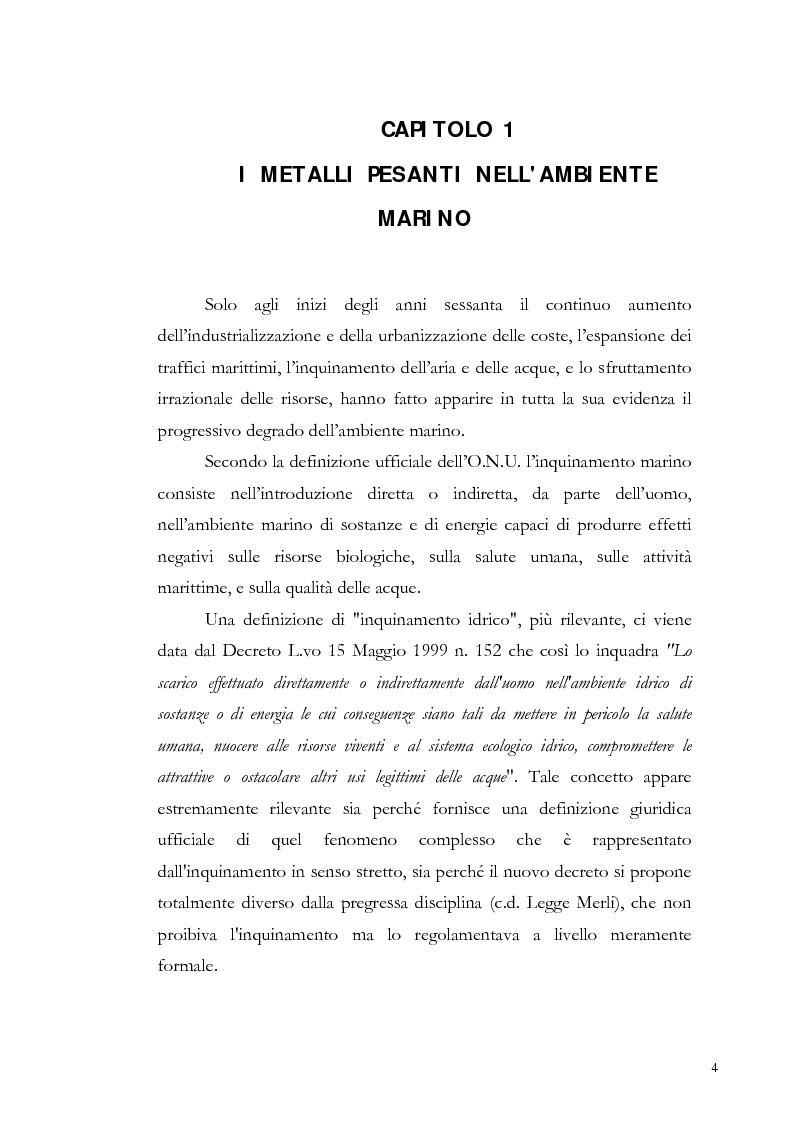 Anteprima della tesi: Valutazione dell'inquinamento da metalli pesanti nell'area antistante l'ex complesso industriale di Bagnoli, Pagina 4