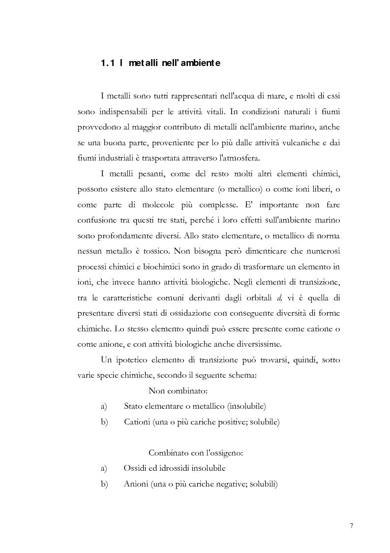 Anteprima della tesi: Valutazione dell'inquinamento da metalli pesanti nell'area antistante l'ex complesso industriale di Bagnoli, Pagina 7