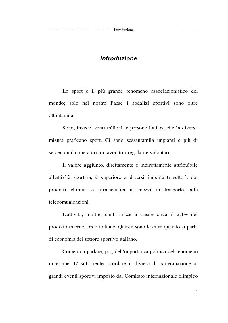 Anteprima della tesi: Profili giuridici delle società sportive, Pagina 1
