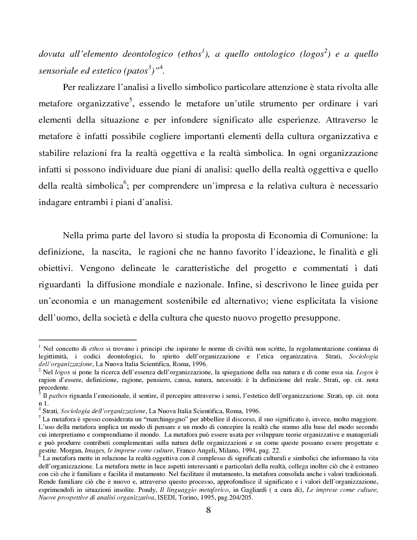 Anteprima della tesi: Le metafore organizzative nelle aziende di economia di comunione: tra metafora e realtà, Pagina 2