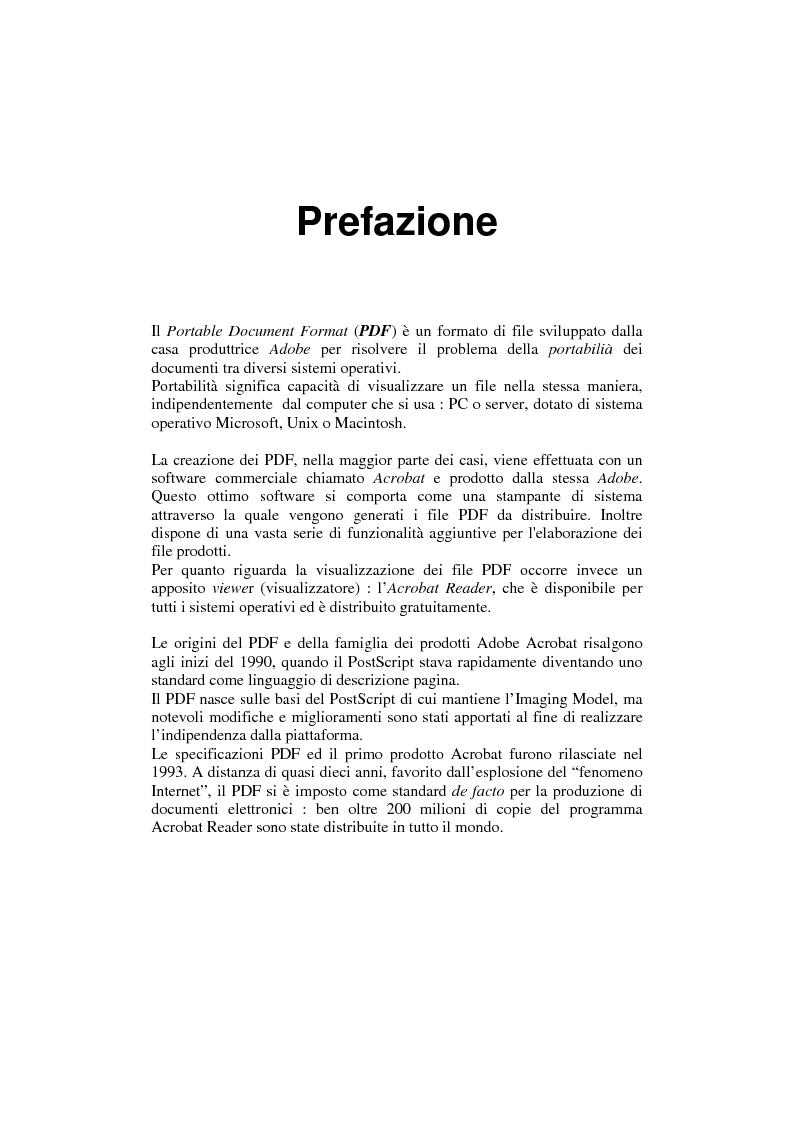 Anteprima della tesi: Analisi e manipolazione di documentazione in formato Pdf: un caso di studio, Pagina 1