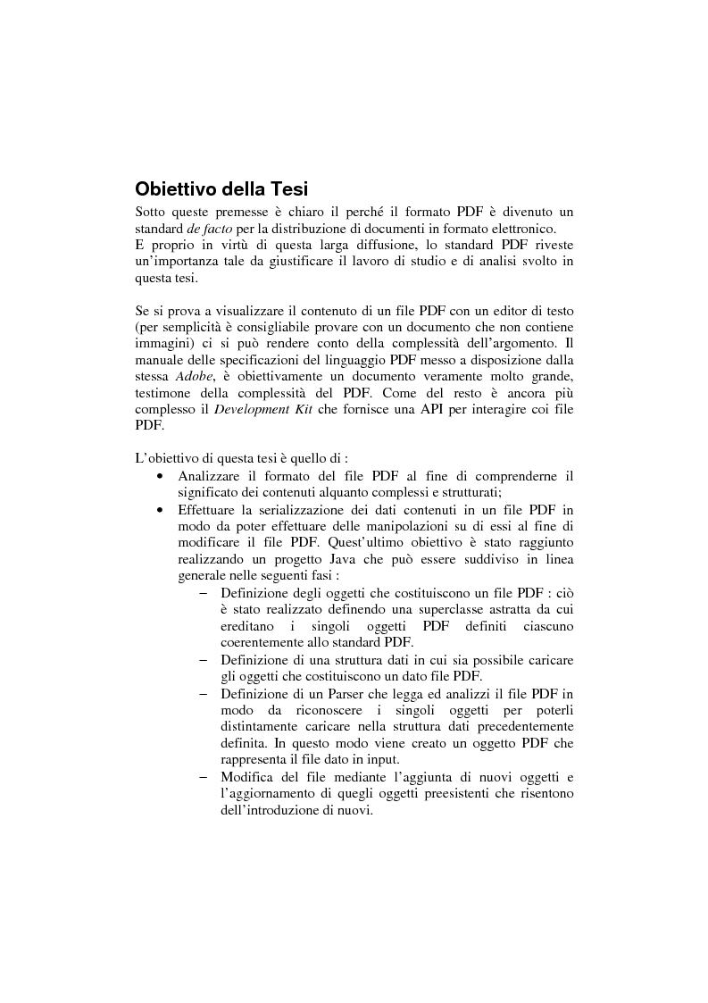 Anteprima della tesi: Analisi e manipolazione di documentazione in formato Pdf: un caso di studio, Pagina 3