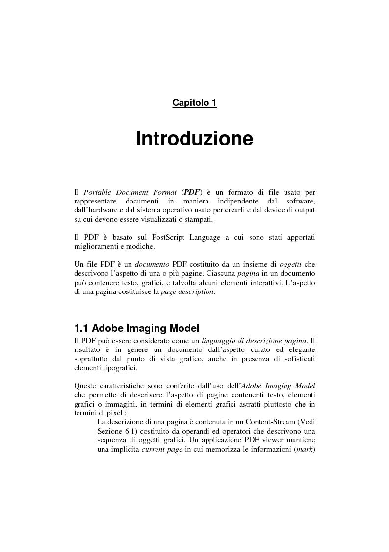 Anteprima della tesi: Analisi e manipolazione di documentazione in formato Pdf: un caso di studio, Pagina 6