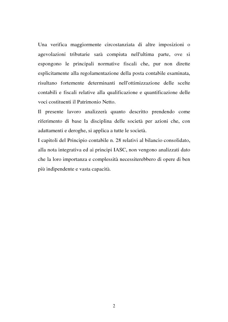 Anteprima della tesi: Il principio contabile n. 28 del Cndc e Cnr: il patrimonio netto. Aspetti contabili e fiscali, Pagina 2