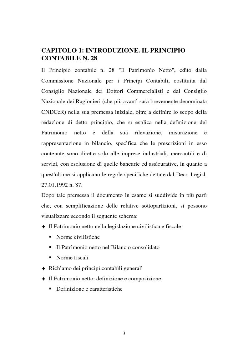Anteprima della tesi: Il principio contabile n. 28 del Cndc e Cnr: il patrimonio netto. Aspetti contabili e fiscali, Pagina 3