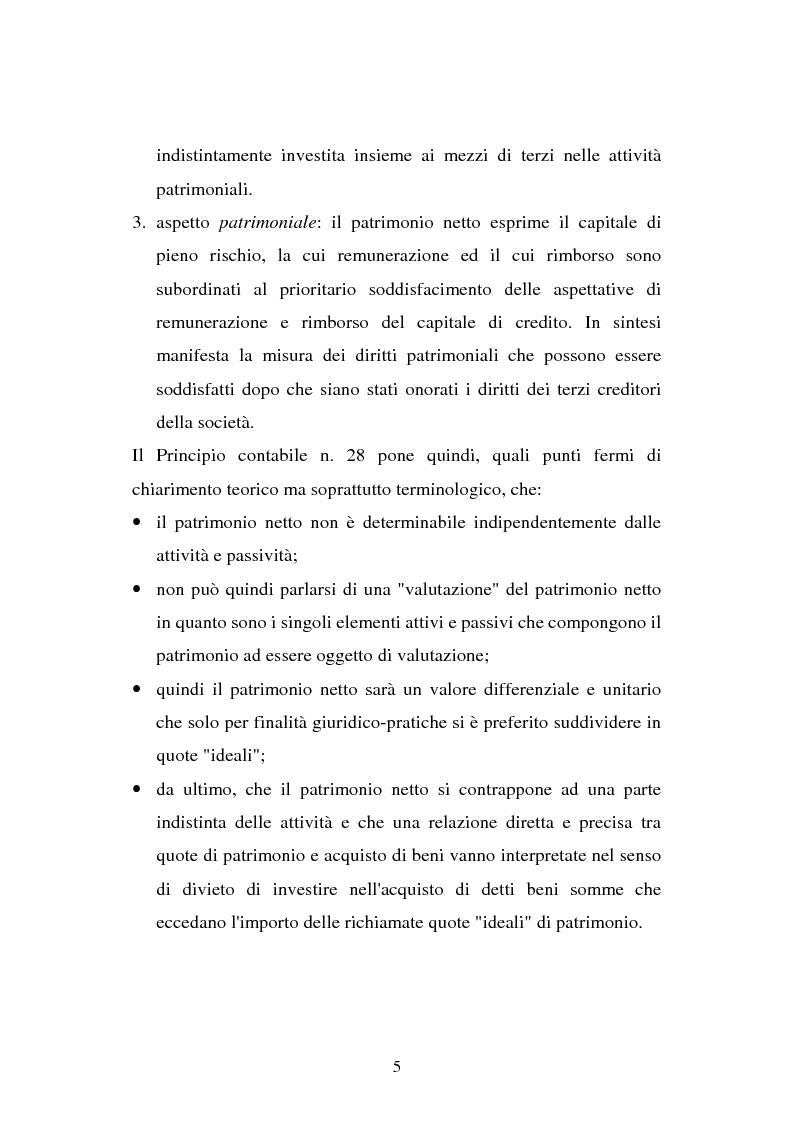 Anteprima della tesi: Il principio contabile n. 28 del Cndc e Cnr: il patrimonio netto. Aspetti contabili e fiscali, Pagina 5