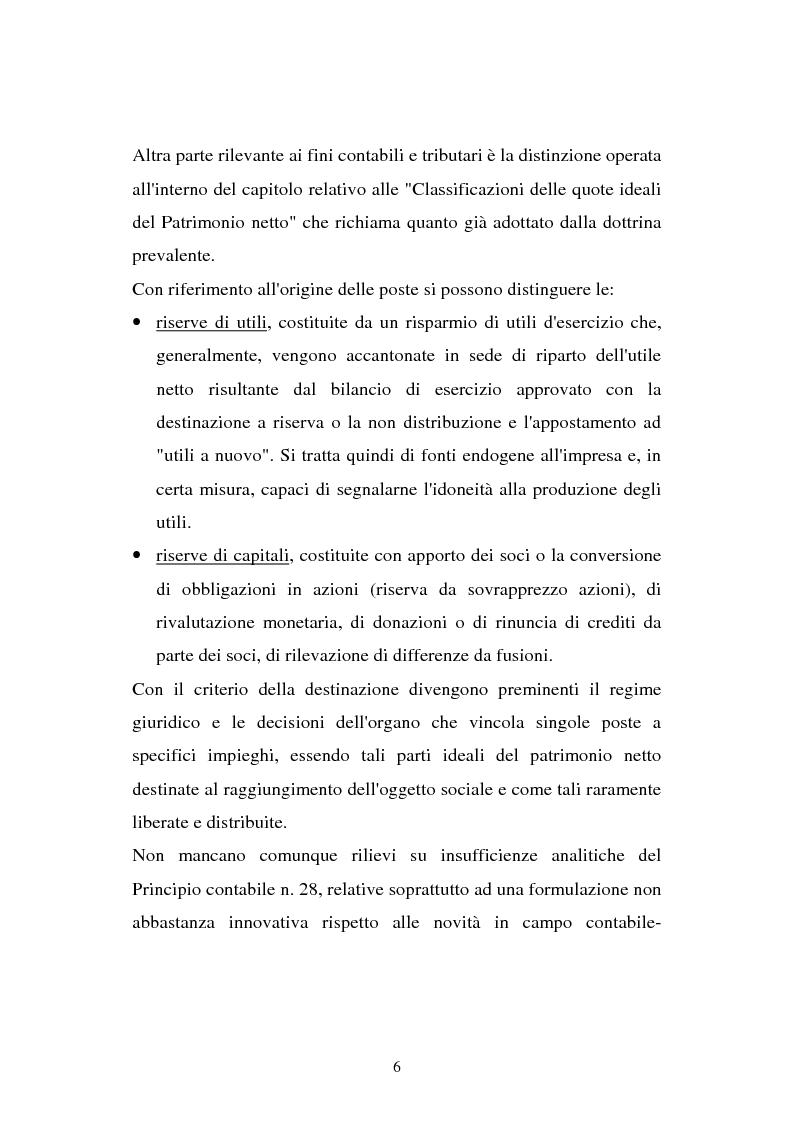 Anteprima della tesi: Il principio contabile n. 28 del Cndc e Cnr: il patrimonio netto. Aspetti contabili e fiscali, Pagina 6