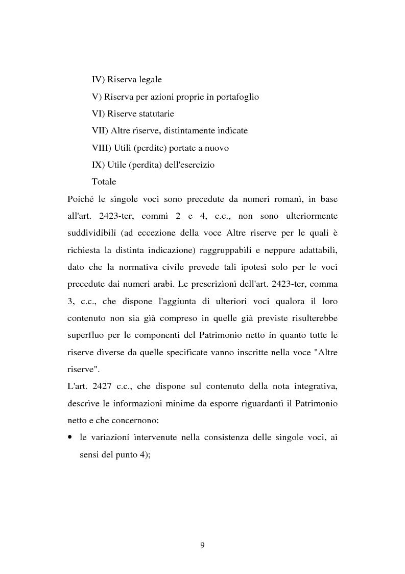 Anteprima della tesi: Il principio contabile n. 28 del Cndc e Cnr: il patrimonio netto. Aspetti contabili e fiscali, Pagina 9