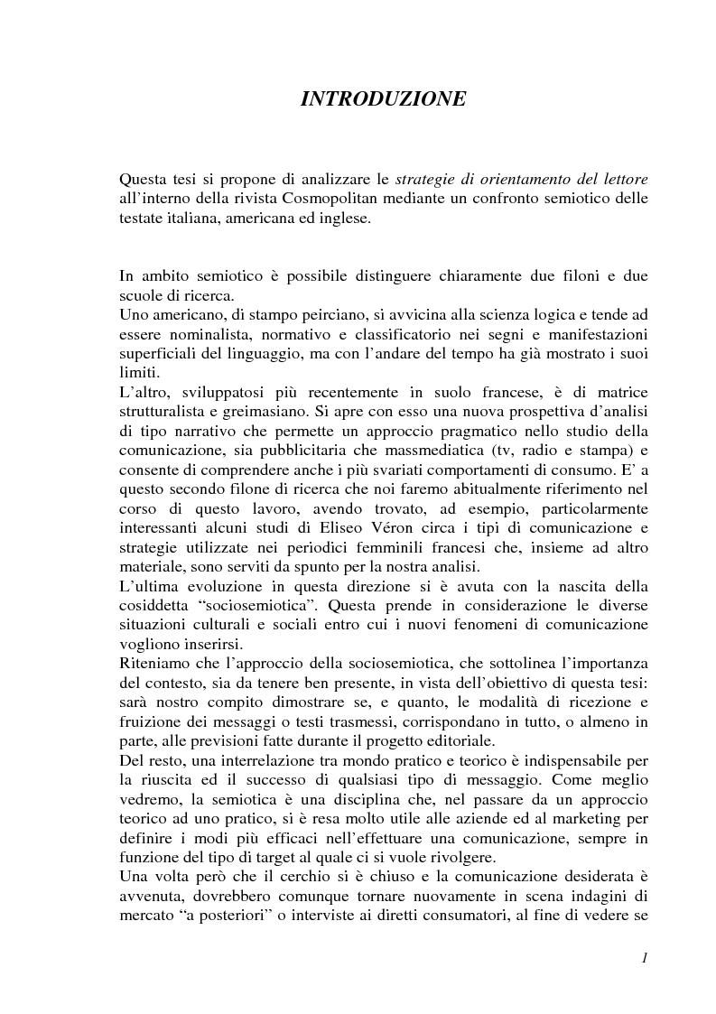 Analisi semiotica della grafica di impaginazione delle riviste femminili e costruzione dei percorsi di lettura. Il caso ...
