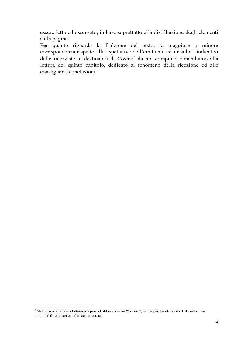 Anteprima della tesi: Analisi semiotica della grafica di impaginazione delle riviste femminili e costruzione dei percorsi di lettura. Il caso di Cosmopolitan nelle versioni italiana, americana e inglese, Pagina 4
