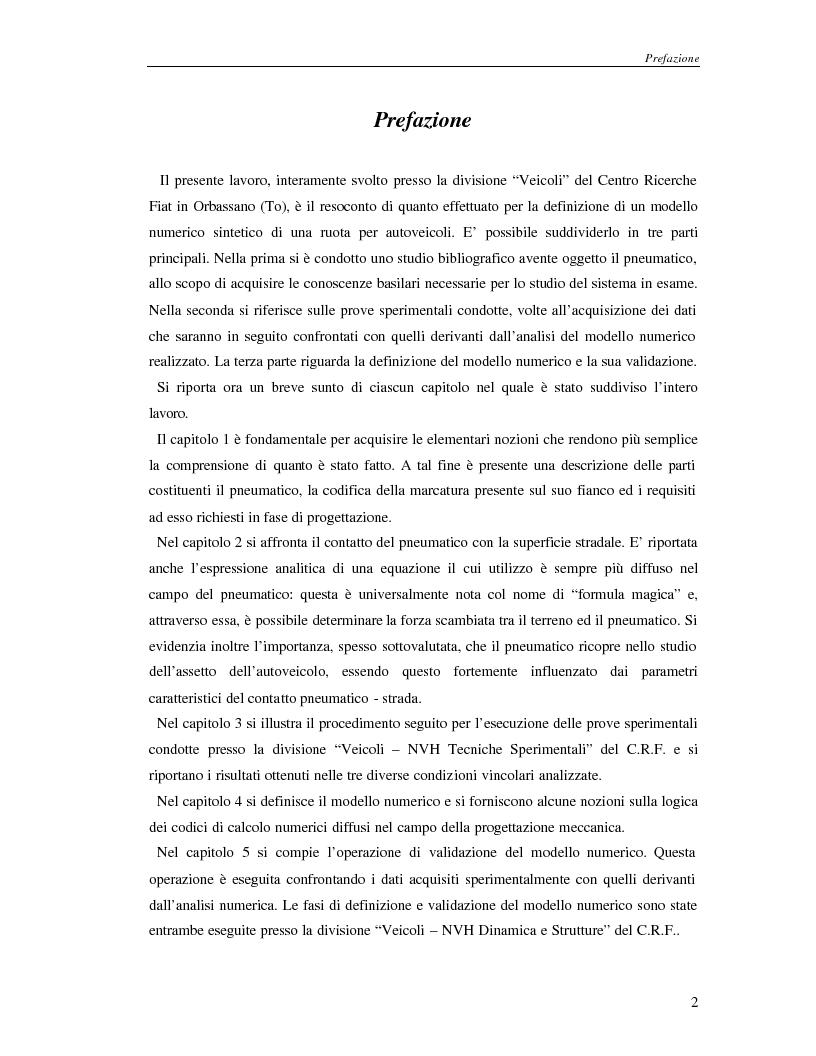 Anteprima della tesi: Analisi dinamica numerica e sperimentale di una ruota per autoveicoli, Pagina 1