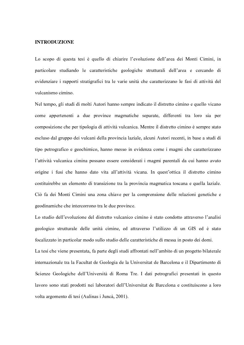 Anteprima della tesi: Controllo strutturale e modalità di messa in posto dei Domi Cimini, Pagina 1