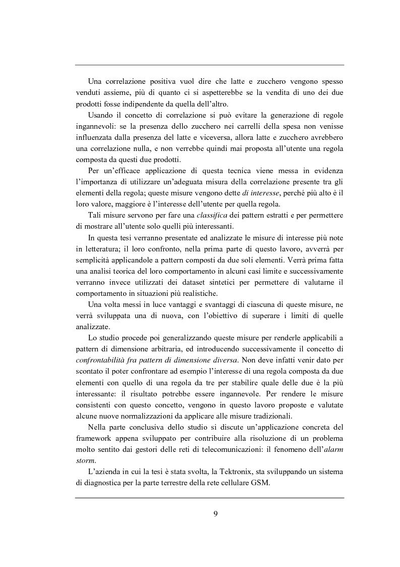 Anteprima della tesi: Correlation rules: analisi di una tecnica di data mining e sua applicazione ai sistemi di telecomunicazione, Pagina 2