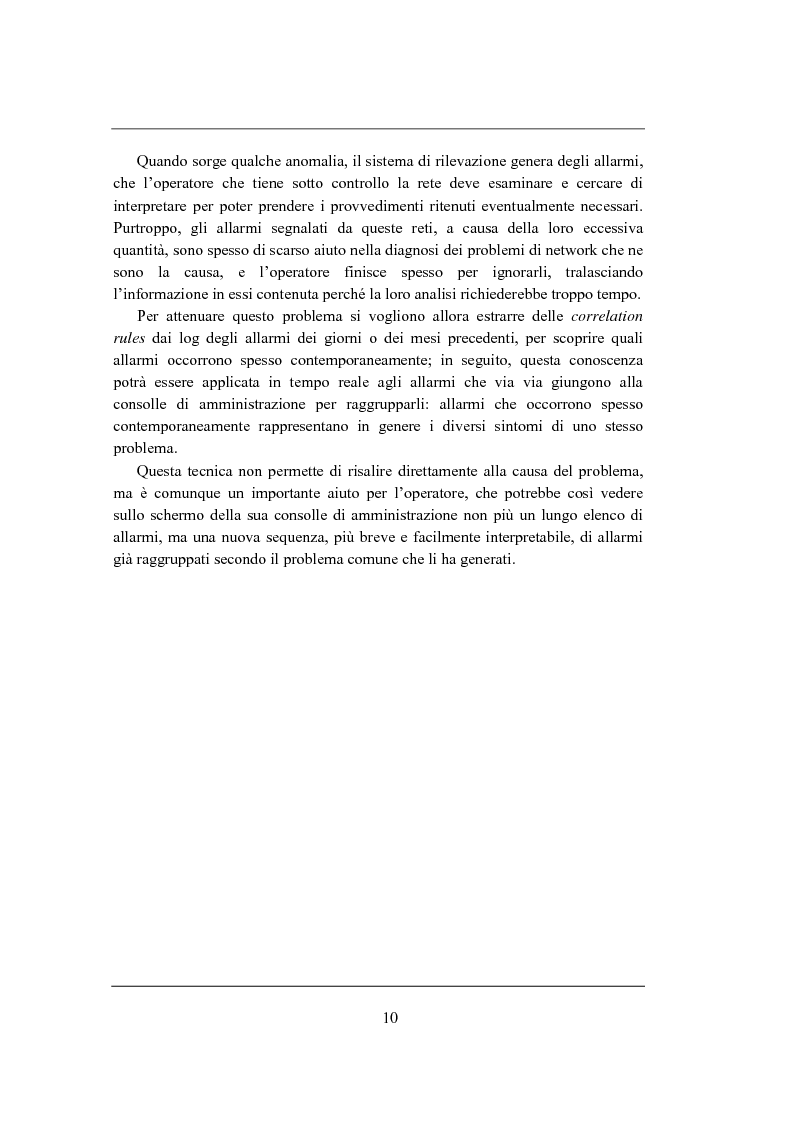 Anteprima della tesi: Correlation rules: analisi di una tecnica di data mining e sua applicazione ai sistemi di telecomunicazione, Pagina 3
