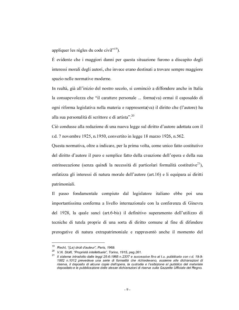 Anteprima della tesi: Analisi comparata del diritto d'autore in Italia e in Francia, Pagina 14
