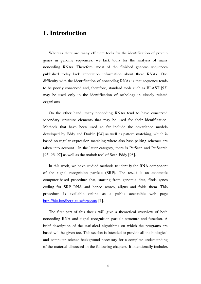 Anteprima della tesi: Prediction of signal recognition particle RNA genes, Pagina 1