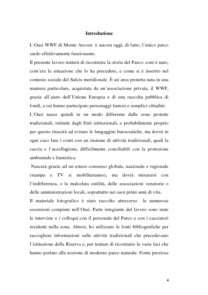 Anteprima della tesi: Parchi e società. La nascita dell'Oasi Wwf di Monte Arcosu, Pagina 1