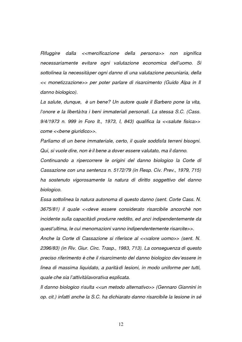 Anteprima della tesi: La risarcibilità del danno biologico da morte, Pagina 11