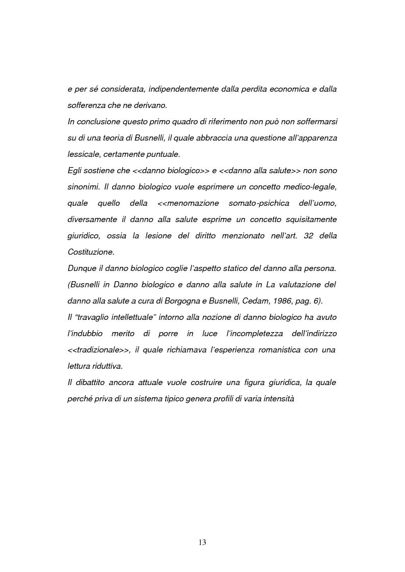 Anteprima della tesi: La risarcibilità del danno biologico da morte, Pagina 12