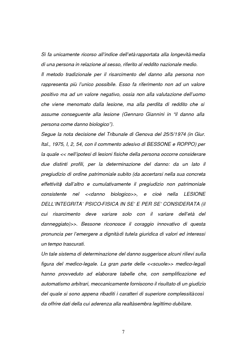 Anteprima della tesi: La risarcibilità del danno biologico da morte, Pagina 6
