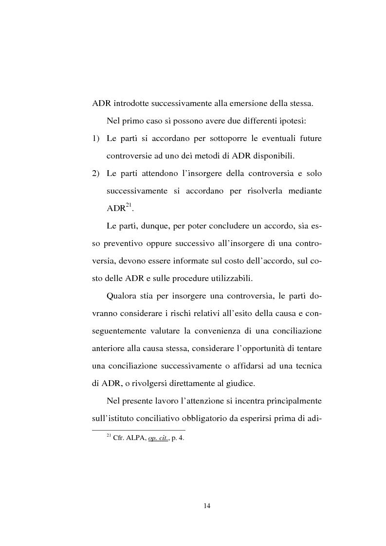 Anteprima della tesi: Tentativo di conciliazione obbligatorio ''ante causam'', Pagina 14