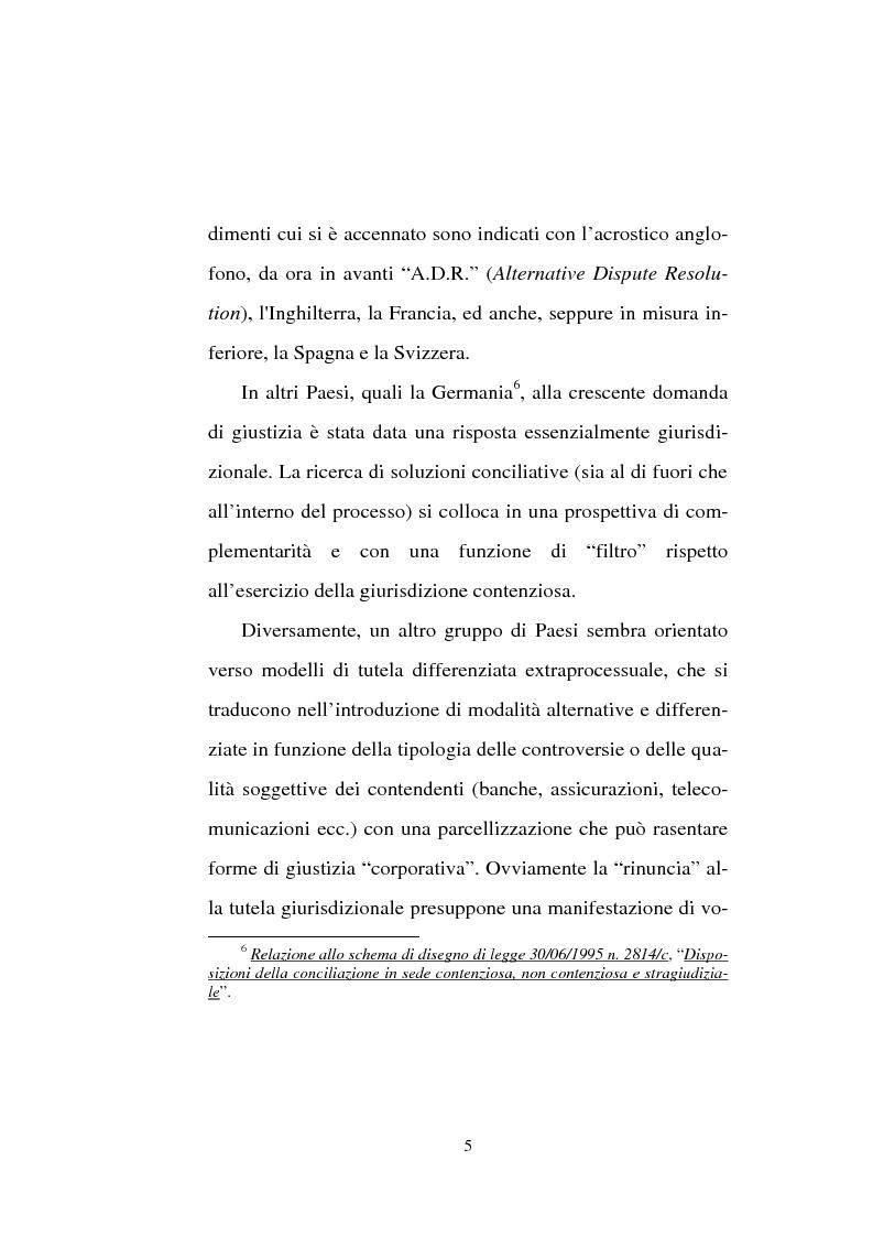 Anteprima della tesi: Tentativo di conciliazione obbligatorio ''ante causam'', Pagina 5