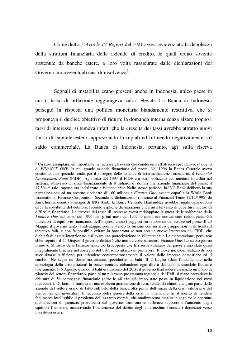 Anteprima della tesi: La crisi asiatica del 1997: il ruolo dell'intermediazione finanziaria e le politiche di aggiustamento, Pagina 10