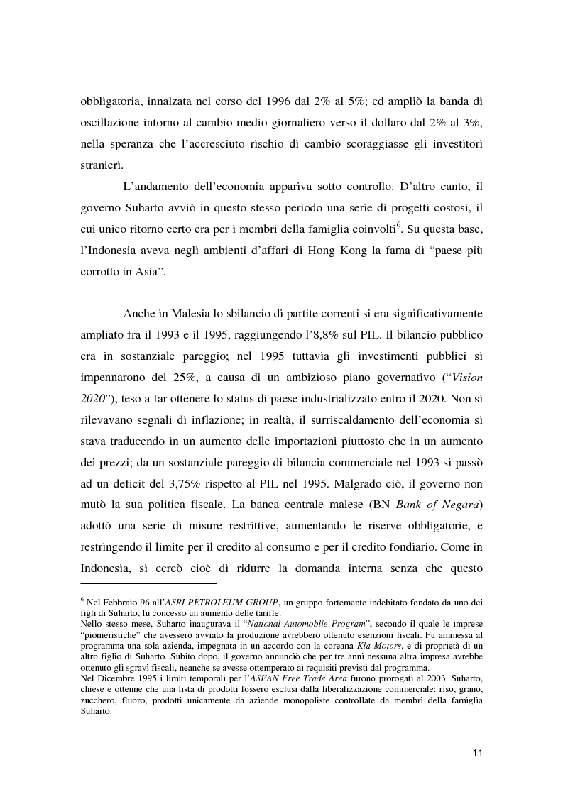 Anteprima della tesi: La crisi asiatica del 1997: il ruolo dell'intermediazione finanziaria e le politiche di aggiustamento, Pagina 11