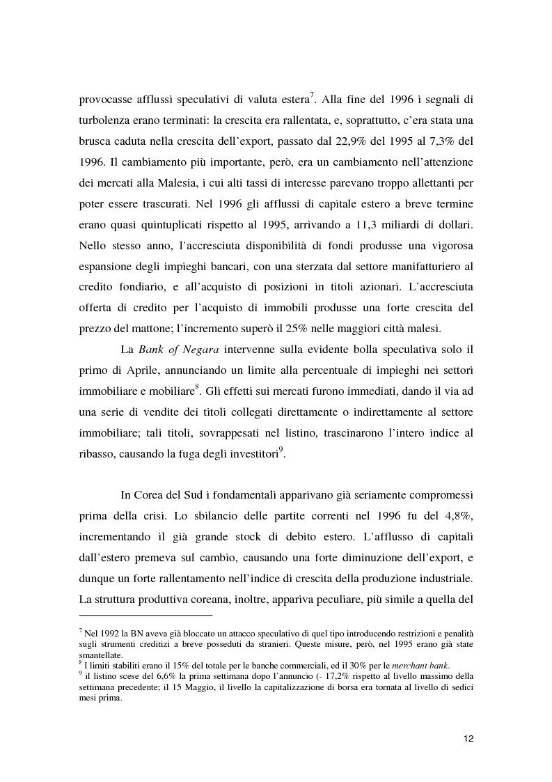 Anteprima della tesi: La crisi asiatica del 1997: il ruolo dell'intermediazione finanziaria e le politiche di aggiustamento, Pagina 12
