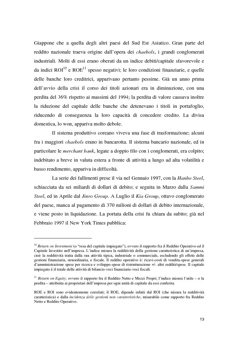 Anteprima della tesi: La crisi asiatica del 1997: il ruolo dell'intermediazione finanziaria e le politiche di aggiustamento, Pagina 13