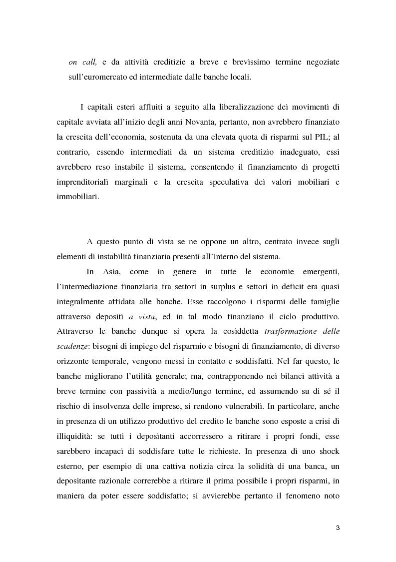 Anteprima della tesi: La crisi asiatica del 1997: il ruolo dell'intermediazione finanziaria e le politiche di aggiustamento, Pagina 3