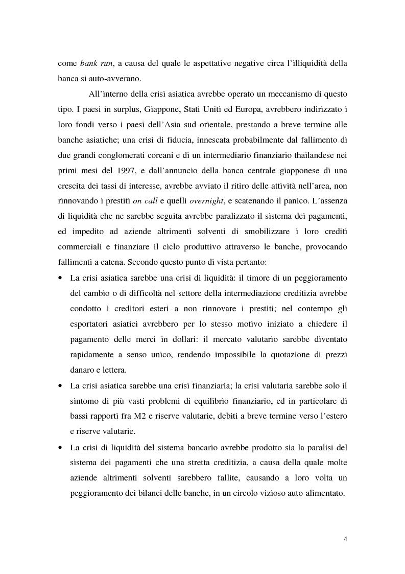 Anteprima della tesi: La crisi asiatica del 1997: il ruolo dell'intermediazione finanziaria e le politiche di aggiustamento, Pagina 4