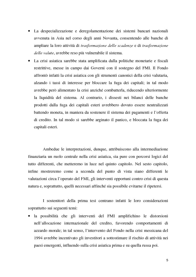 Anteprima della tesi: La crisi asiatica del 1997: il ruolo dell'intermediazione finanziaria e le politiche di aggiustamento, Pagina 5