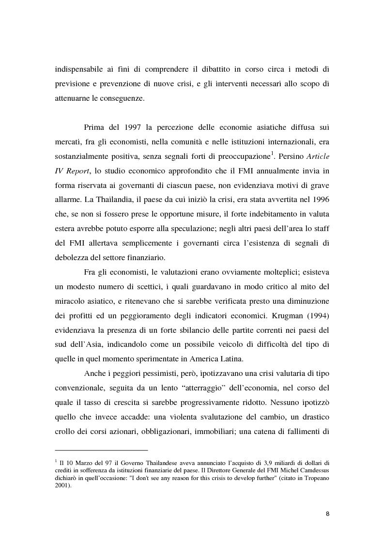 Anteprima della tesi: La crisi asiatica del 1997: il ruolo dell'intermediazione finanziaria e le politiche di aggiustamento, Pagina 8