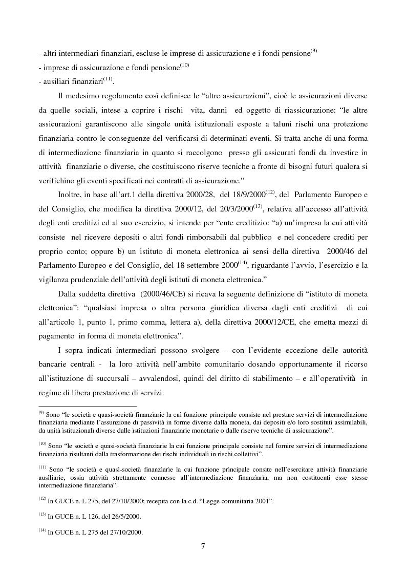 Anteprima della tesi: La disciplina comunitaria dell'intermediazione finanziaria, Pagina 5