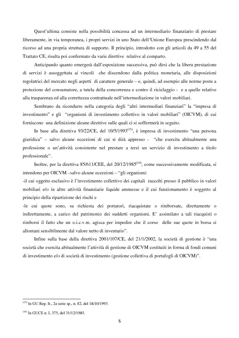 Anteprima della tesi: La disciplina comunitaria dell'intermediazione finanziaria, Pagina 6