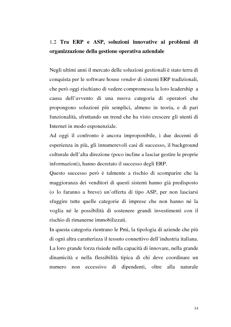 Anteprima della tesi: Sistemi Erp e modalità Asp: quando una Pmi ricorre a strumenti di governo da grande impresa, Pagina 10