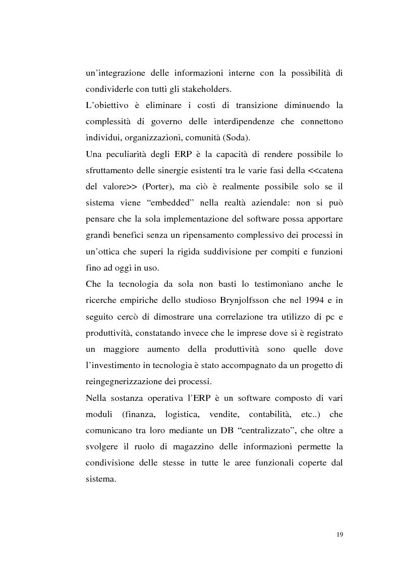 Anteprima della tesi: Sistemi Erp e modalità Asp: quando una Pmi ricorre a strumenti di governo da grande impresa, Pagina 15