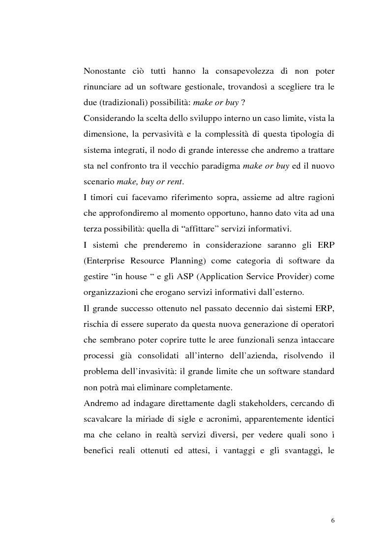 Anteprima della tesi: Sistemi Erp e modalità Asp: quando una Pmi ricorre a strumenti di governo da grande impresa, Pagina 2