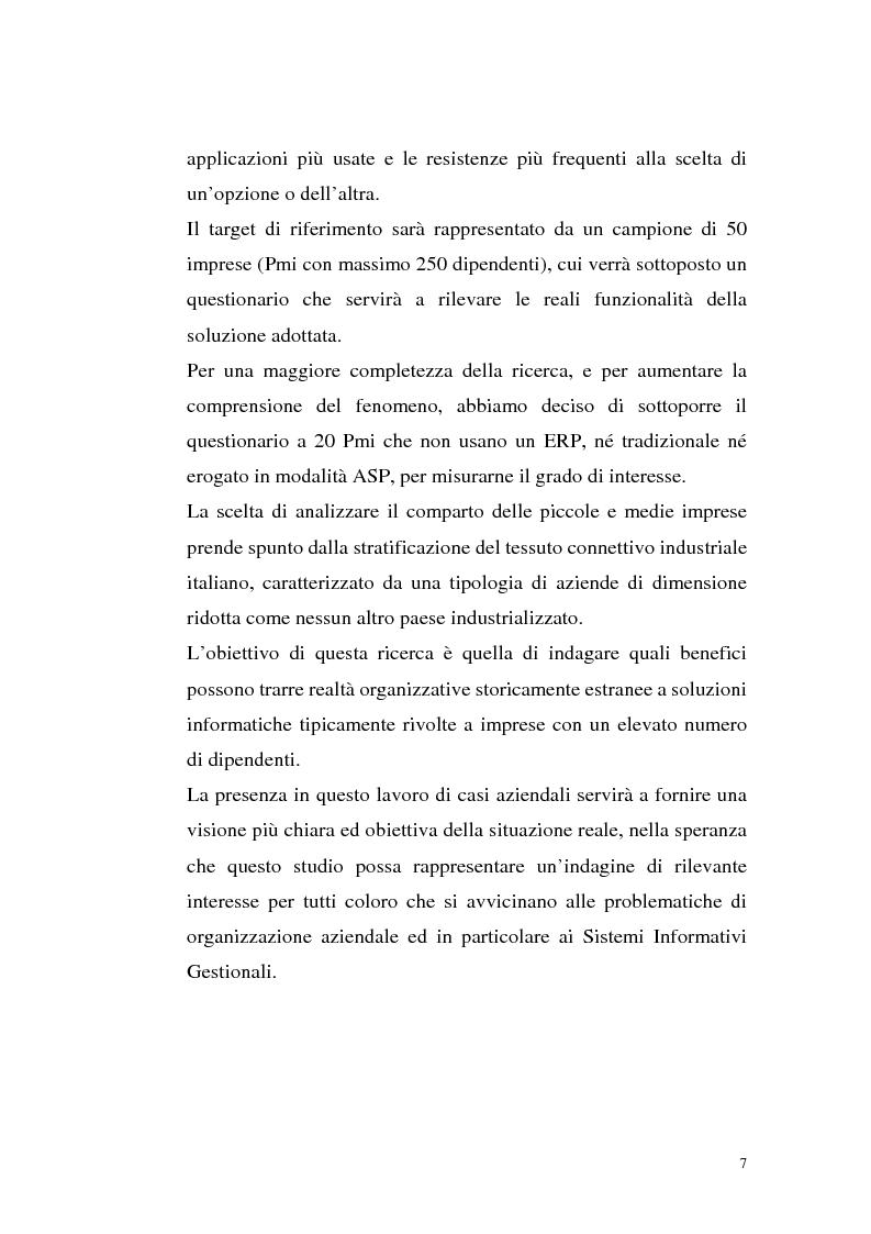 Anteprima della tesi: Sistemi Erp e modalità Asp: quando una Pmi ricorre a strumenti di governo da grande impresa, Pagina 3