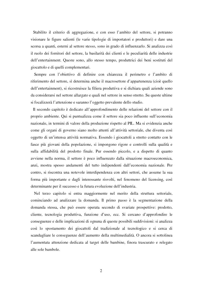 Anteprima della tesi: Il settore dei giocattoli, Pagina 2