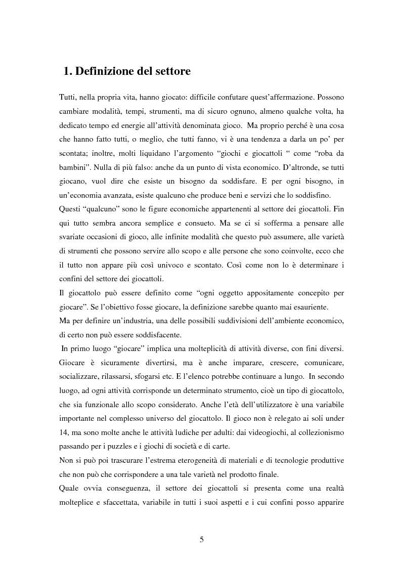 Anteprima della tesi: Il settore dei giocattoli, Pagina 5