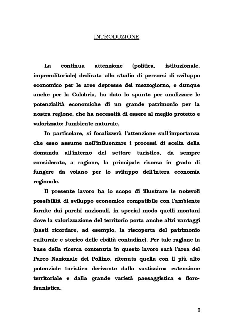 Anteprima della tesi: Lo sviluppo del turismo naturalistico-ambientale in Calabria. Alcune ipotesi per il potenziamento dell'offerta del Parco del Pollino., Pagina 1