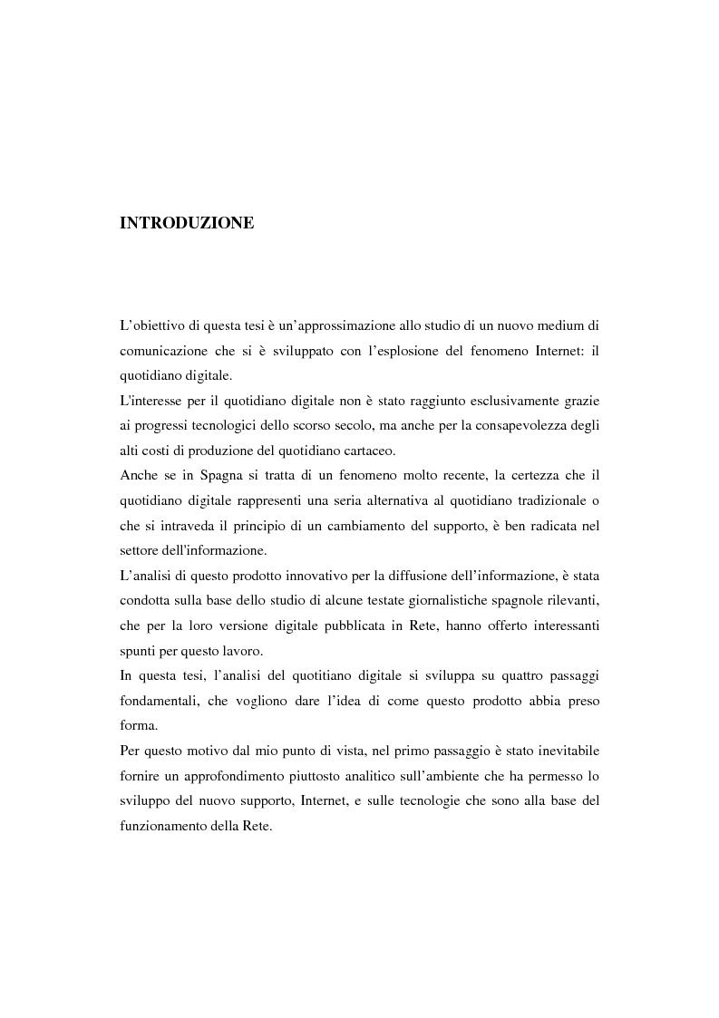 Anteprima della tesi: Quotidiani on-line in Spagna: analisi e confronti, Pagina 1