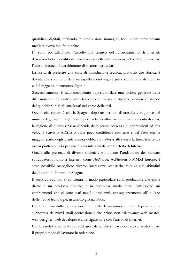 Anteprima della tesi: Quotidiani on-line in Spagna: analisi e confronti, Pagina 3