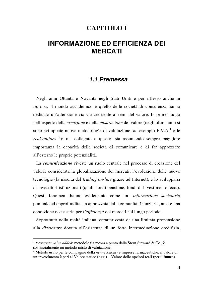 Anteprima della tesi: L'informazione societaria come veicolo del valore aziendale, Pagina 1